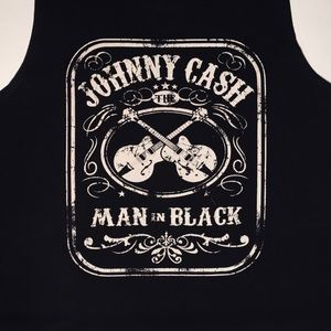 """JOHNNY CASH """"Man in Black"""" Band Graphic Tank Large"""